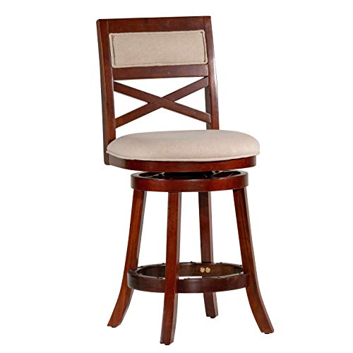 "Swivel Cherry Plate Finish - DTY Indoor Living Meeker X Back Upholstered Swivel Stool, Cherry Finish, 24"" Counter Stool, Beige Upholstered Seat - Big Sale!!"
