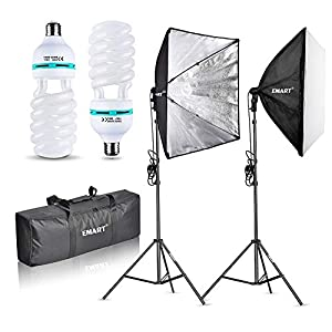 Emart 1000W Softbox Lighting Kit Photography Continuous Photo Studio Light System for YouTube Video Shooting Soft Box 24″ x 24″