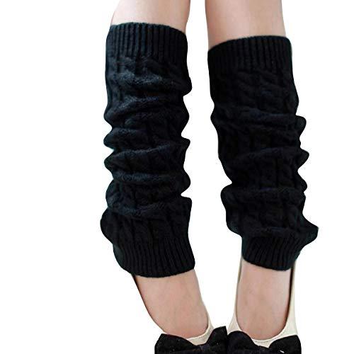Women's Fashion Winter Warm Leggings Boots Long Leg Warmer Knit Crochet Knitted Boot Toppers Cuffs Thigh high Socks (Black) (Accessory Boot Black Cuff)