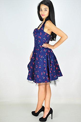 Robe dos nu style rétro Cherry femmes imprimer une ligne-Robe