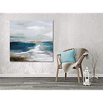 Large Abstract Canvas Prints Wall Art, Blue Ocean Landscape for Living Room, Coastal Beach Oil Paintings, 3D Hand Painted Modern Pictures for Home, Stretched and Framed Ready to Hang 36x36 Inch