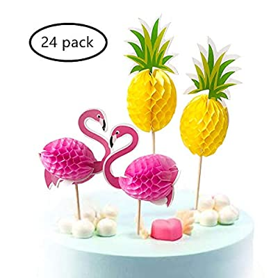 3D Cupcake Toppers For Hawaiian Luau Summer Flamingo birthday Parties Cake Snack Cocktail Food Picks Appetizer Wood/Bamaboo Sticks Party Decoration Supplies