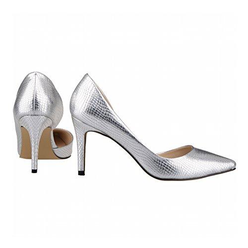 Stiletto Hauts Talons Superficielle Empty Femmes Printemps Silver Side Meijunter Chaussures Crocodile Bouche 1xSwI70Ynq
