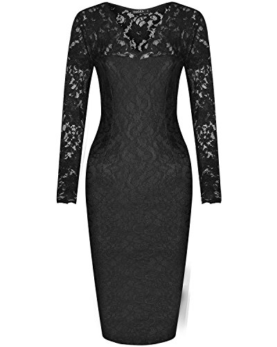 OUGES Womens Long Sleeve Floral V-Neck Bridesmaid Lace Dress