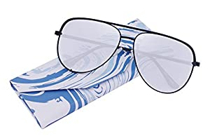 EVEE Fashionable Metal Aviator Sunglasses with Oversize Flat Mirror Lenses + LIMITED EDITION CASE + MICROFIBER CLEANING CLOTH (GEMINI)
