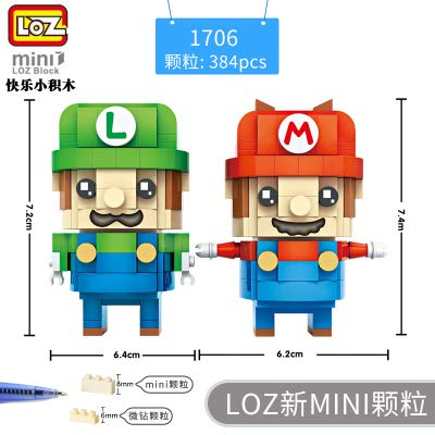 LOZ Mario Brother Style Diamond Mini Building Micro Block Brick Headz Baseplate 384PCS Gifts for Kids DIY Model Figure Bobble Head Collectible Toys PVC