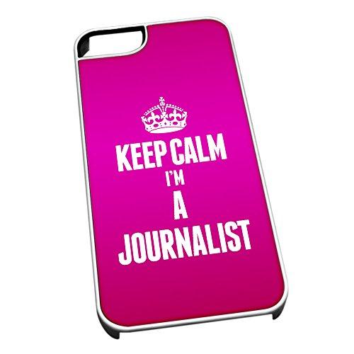 Bianco cover per iPhone 5/5S 2612rosa Keep Calm I m A Journalist