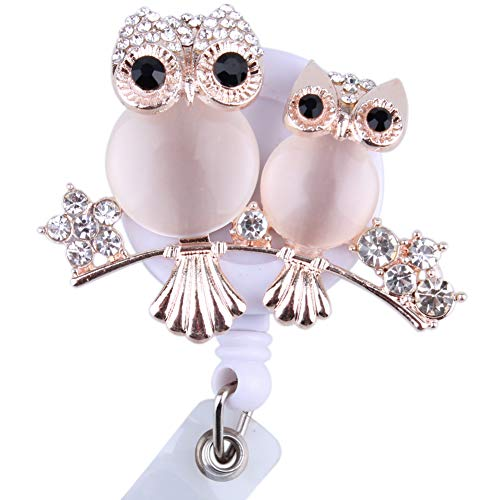 Cute Rhinestone Owl Badge Holder Retractable Id Business Card Remarkable Badge Reel with Alligator Clip (Rose - Double Badge Reel