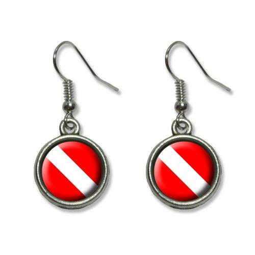 [Scuba Diver Flag - Diving Novelty Dangling Dangle Drop Charm Earrings] (Scuba Diver Costumes)
