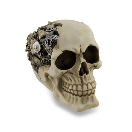 Things2Die4 Macabre Steampunk Skull Gear Head Sculptural Statue ()