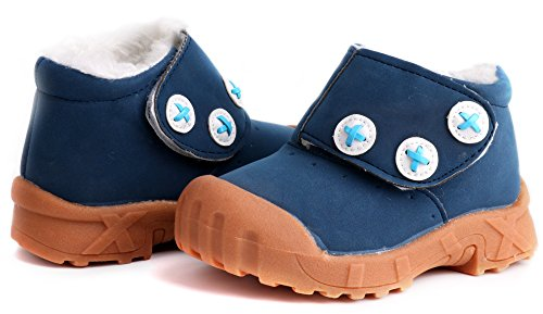 Pictures of LONSOEN Toddler Winter Snow Boots for Boy Girl Outdoor Waterproof Booties with Fur Lined, Blue, BAY003 CN22 3