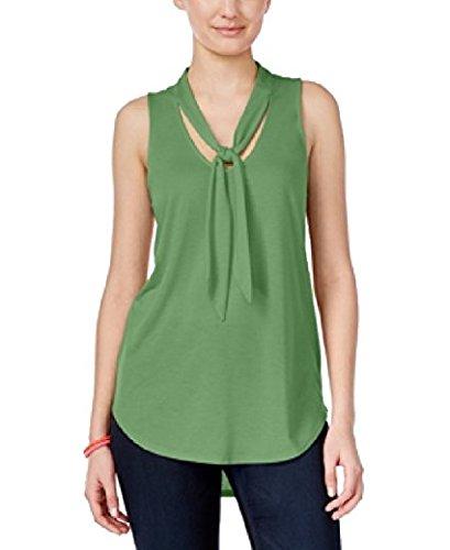 Amazoncom Almost Famous Juniors Sleeveless Tie Neck Blouse Size L