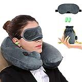 Almohada de Viaje Inflable Relajante Cuello Apoyo Travel Neck Pillow Inflatable para avion vuelos de larga distancia,tren, coche y oficina con cubierta suave lavable,bolsa de transporte y con antifaz para dormir (Gris)