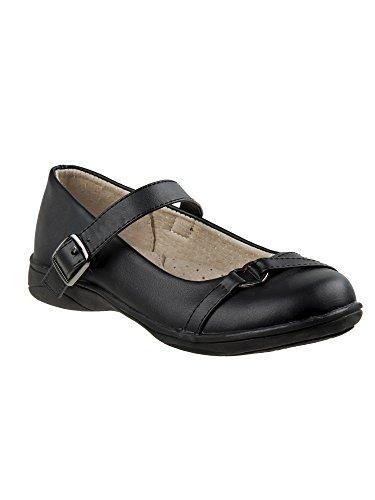 Laura Ashley Girls Black Heart Buckle Strap Mary Jane Shoes 3 Kids (Black In Ashley Dress)