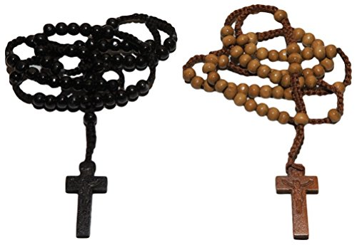 2pc Tan & Black Colored Wooden Beads Rosary Necklaces with Jesus Imprint Cross by Bethlehem Gifts TM