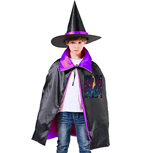 Fish in The Sky and Cats On The Ground Halloween Shawl and Witch Hat for Children Kids Purple]()