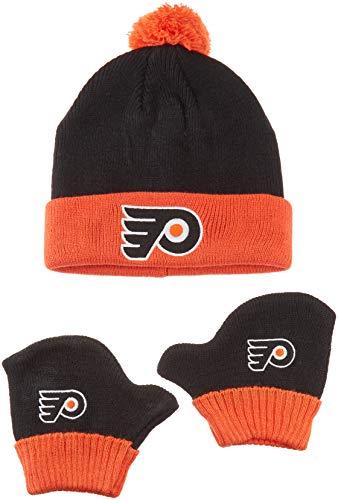 OTS NHL Philadelphia Flyers Pow Knit Cap & Mittens Set, Black, Infant