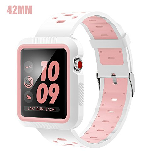 EloBeth Compatible Apple Watch Band 42mm with Case, Shock-Resistant Protective Case Soft Silicone Sport Strap iWatch Band for Apple Watch Band Series 3/2/1 Nike+ Sport Edition(White/Pink, 42mm)