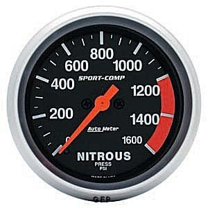 Auto Meter Sport-Comp Analog Gauges Gauge, Sport-Comp, Nitrous Pressure, 0-1,600 psi, 2 5/ 8 in., Analog, Electrical, Each