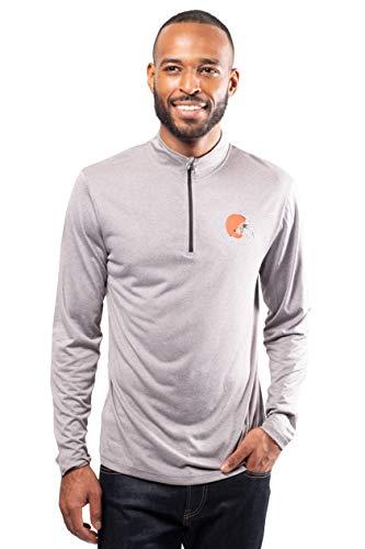Ultra Game Men's NFL Moisture Wicking Soft Quarter Zip Long Sleeve Tee Shirt, Cleveland Browns, Heather Gray, Medium (Nfl Tshirt Men)