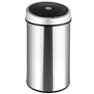 TecTake 50 litros Papelera Cubo Basura Sanitario Inox con sensor de apertura
