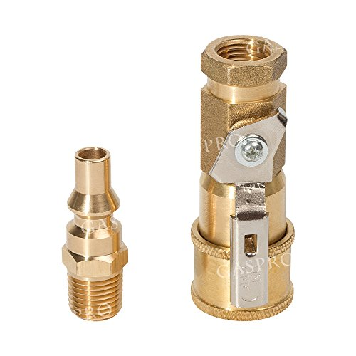 GASPRO Propane/Natural Gas Fitting 1/4inch Quick Connect Kit with Shutoff Valve & Full Flow Plug 100% Solid (Gas Quick Connector)