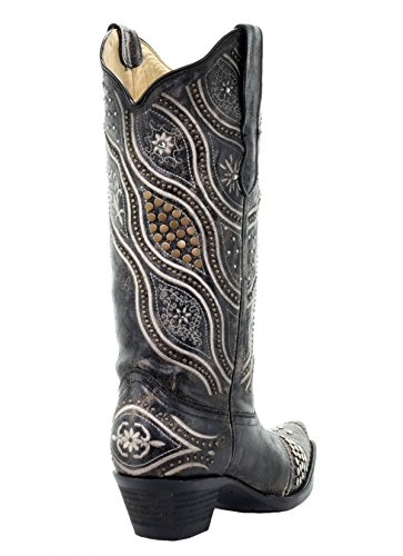 CORRAL E1334 Black Embroidered Boots With Stud Accents w5hGpjR