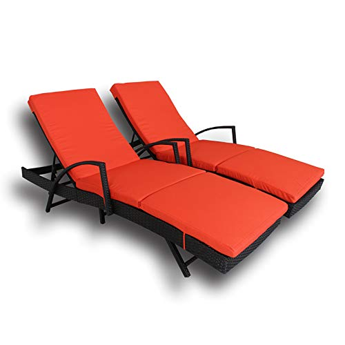 LEAPTIME Patio Lounge Chair Outdoor Rattan Sunbed Chaise Lounge with Armrest Adjustable 5 Position Black PE Wicker Sunbed Furniture with Orange Cushion-Set of 2 For Sale