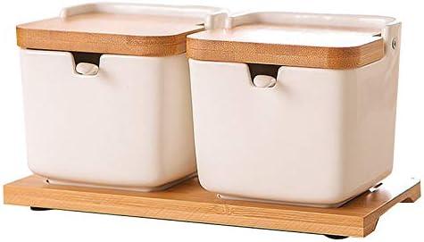 Yebobo Sugar Bowl with Lids and Spoons,8.54Oz Ceramic Sugar Jar with Spoon,Condiment Spice Jar for Kitchen,Porcelain Sugar Dish for Sugar,Serving,Spice,Salt,2Pack