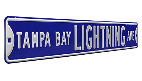 """Authentic Street Signs 28123 NHL Tampa Bay Lighting Ave, Heavy Duty, Metal Street Sign Wall Decor, 36"""" x 6"""" from Authentic Street Signs"""