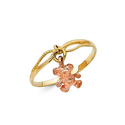 Solid 14k Yellow Rose Gold Teddy Bear Charm Dangle Ring Polished Finish Fancy Two Tone 3MM, Size (Teddy Bear Yellow Ring)
