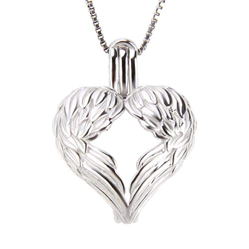 (LGSY 925 Sterling Silver Angel Wings Pendant Accessory/Charm/Fitting/Setting for Jewelry Making, Design Pearl Cage Pendant for Dainty Gift )