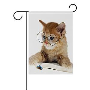 "ONEERA Funny Cute Cat Weatherproof Polyester Garden Flag 12"" x 18"" Seasonal Home Banner"