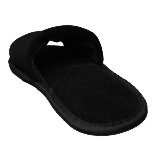 Terry Velour Open Toe Slippers Cloth Spa Hotel Unisex Slippers for Women and Men Black