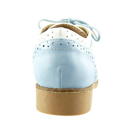 Angkorly - Chaussure Mode Richelieu femme perforée finition surpiqûres coutures Talon bloc 2.5 CM - Bleu