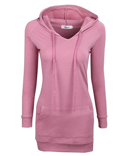 Bepei Womens Long Sleeve Crewneck Tunic Sweatshirt String Hoodie Pink 2XL