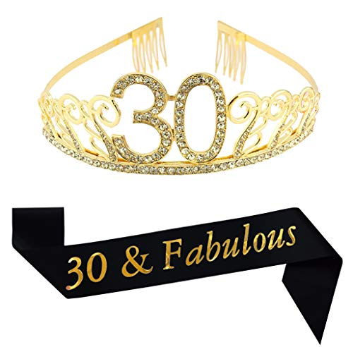 30th Brithday Gold Tiara and Sash, Glitter Satin 30 & Fabulous Sash and Crystal Rhinestone Birthday Crown for Happy 30th Birthday Party Supplies Favors Decorations 30th Birthday Cake Topper -