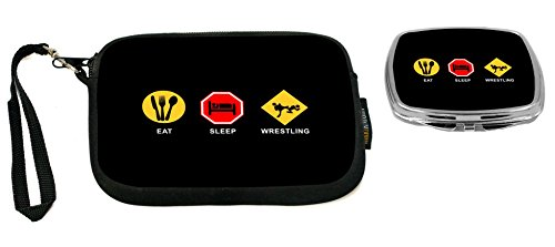 Rikki Knight Eat Sleep Wrestling Design Neoprene Clutch Wristlet with Matching Square Compact Mirror by Rikki Knight