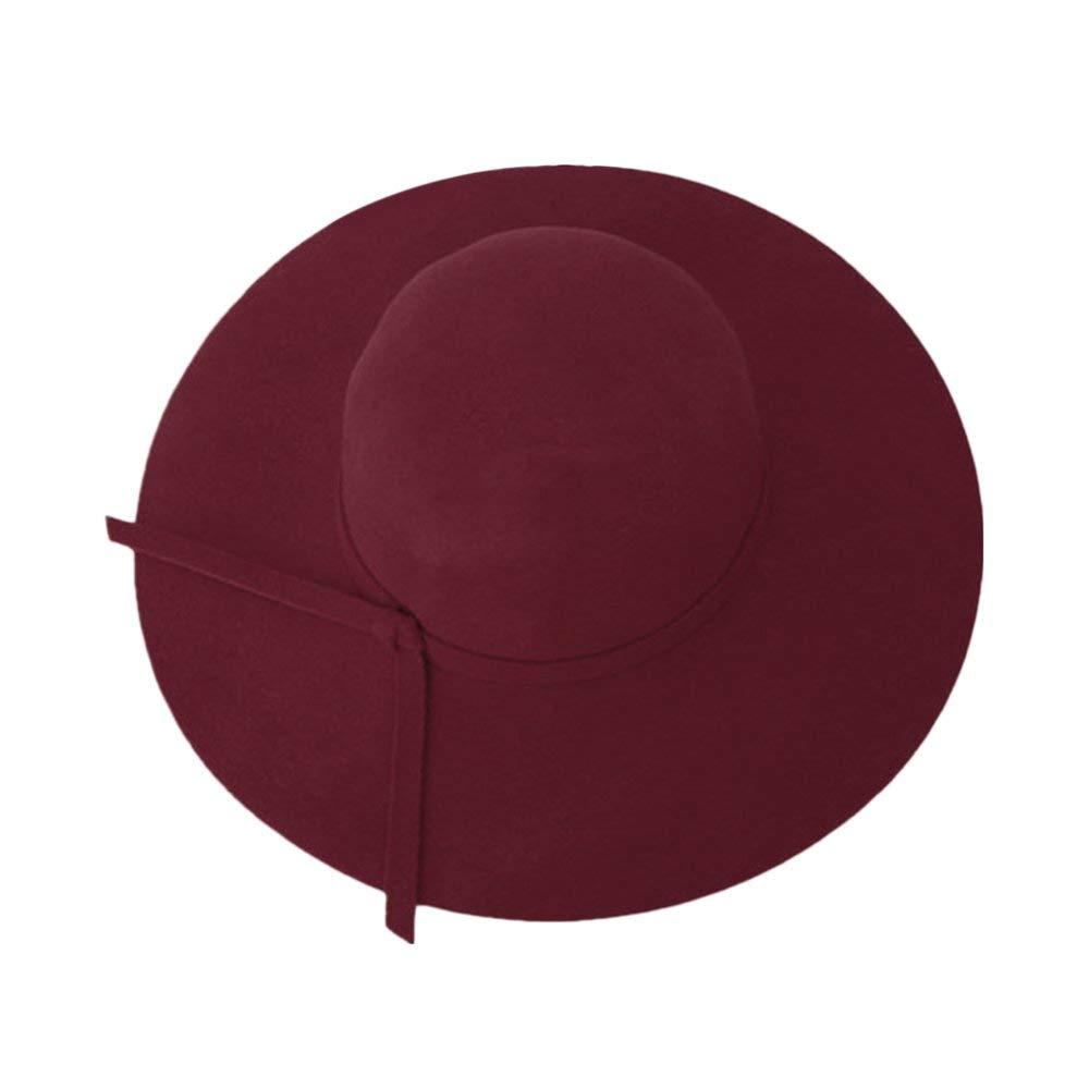 High Class England Style Frauen Big Breiter Krempe Filzhut Vintage Einfarbig Damen Hut Floppy Cloche Cap Hut f/ür Frauen Weinrot