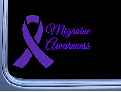 EZ-STIK Migraine Awareness Purple Ribbon M415 8 inch Sticker decal headache cure (Best Diet For Migraine Sufferers)