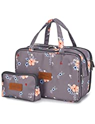 Travel Makeup Bag Toiletry Bags Large Cosmetic Cases for Women Girls Water-resistant (gray floral/makeup bag set)