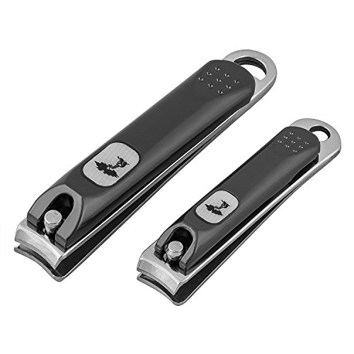 ToiletTree Products Stainless Steel Nail Clipper Set for Men or Women, Black Matte Finish
