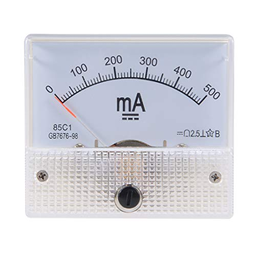 uxcell 85C1 Analog Current Panel Meter DC 500mA Ammeter for Circuit Testing Ampere Tester Gauge 1 PCS