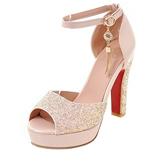 Artfaerie Women's High Heel Heel High Ankle Strap Glitter Court Shoes Peep Toe Block Heels Sandals B07FJ6GYVT Parent 27409d