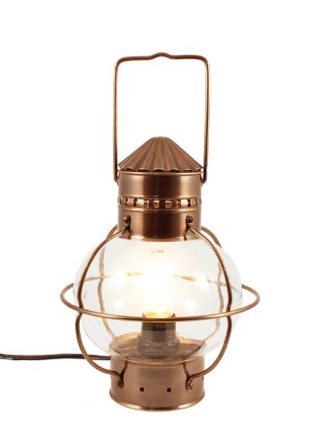 Electric Nautical Lamp   Antique Brass Onion Lantern 10u0026quot;