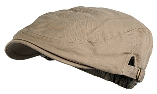 Flat Cap Ivy Hat - Men's Cotton Flat Cap Ivy Gatsby Newsboy Hunting Hat, Khaki, One Size