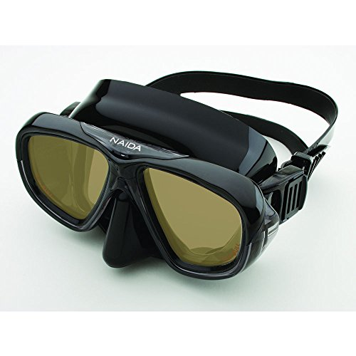 Riffe Naida Mask for Diving and Spearfishing (Black w/Amber Lens)