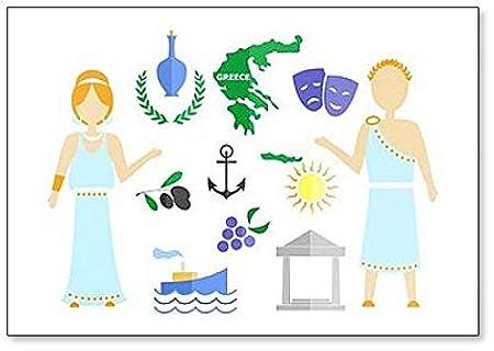 Imán para nevera con diseño de símbolos y iconos de Grecia: Amazon ...