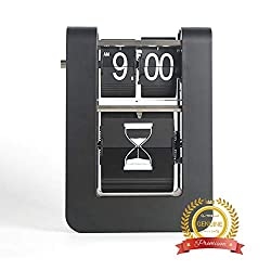 MIDCLOCK Flip Clock, Home Décor Desk Clock, Funny Moving Hourglass Clock, Auto Flip Down Clock, Battery Powered, Digital Clocks for Living Room Décor (Moving Hourglass)