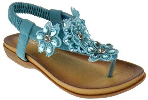 Flat Rhinestone Pull - Lucita Crab 800KM Little Girls Gladiator Floral Rhinestone Comfort Flat Sandals Light Blue 10